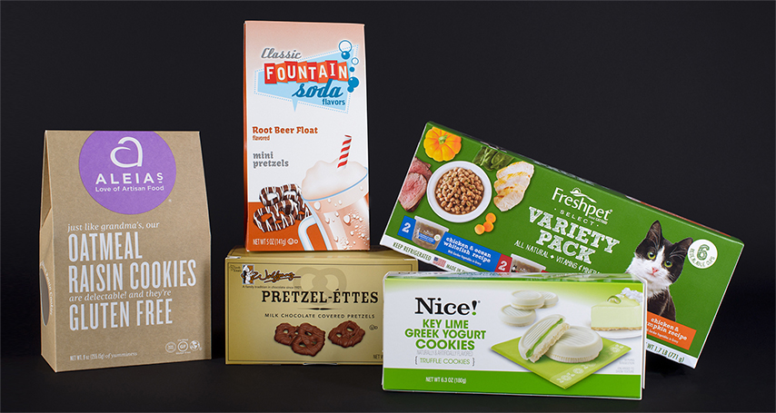 Consumer packaging shown for cat food, cookies, and more