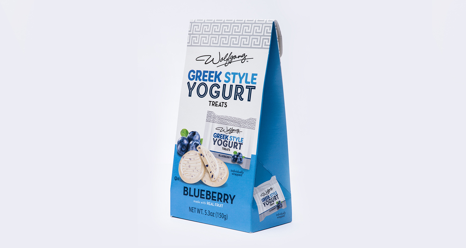 Consumer packaging shown for yogurt treats
