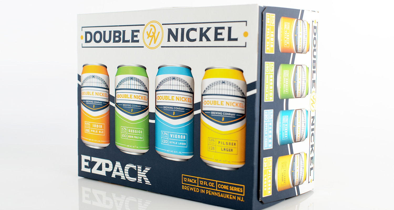 Consumer packaging shown for beer cans