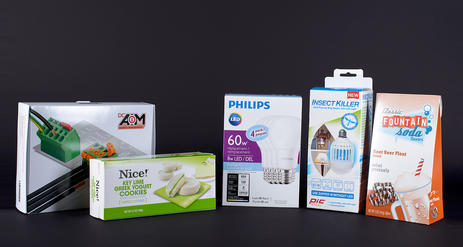 Consumer packaging shown for light bulbs and food