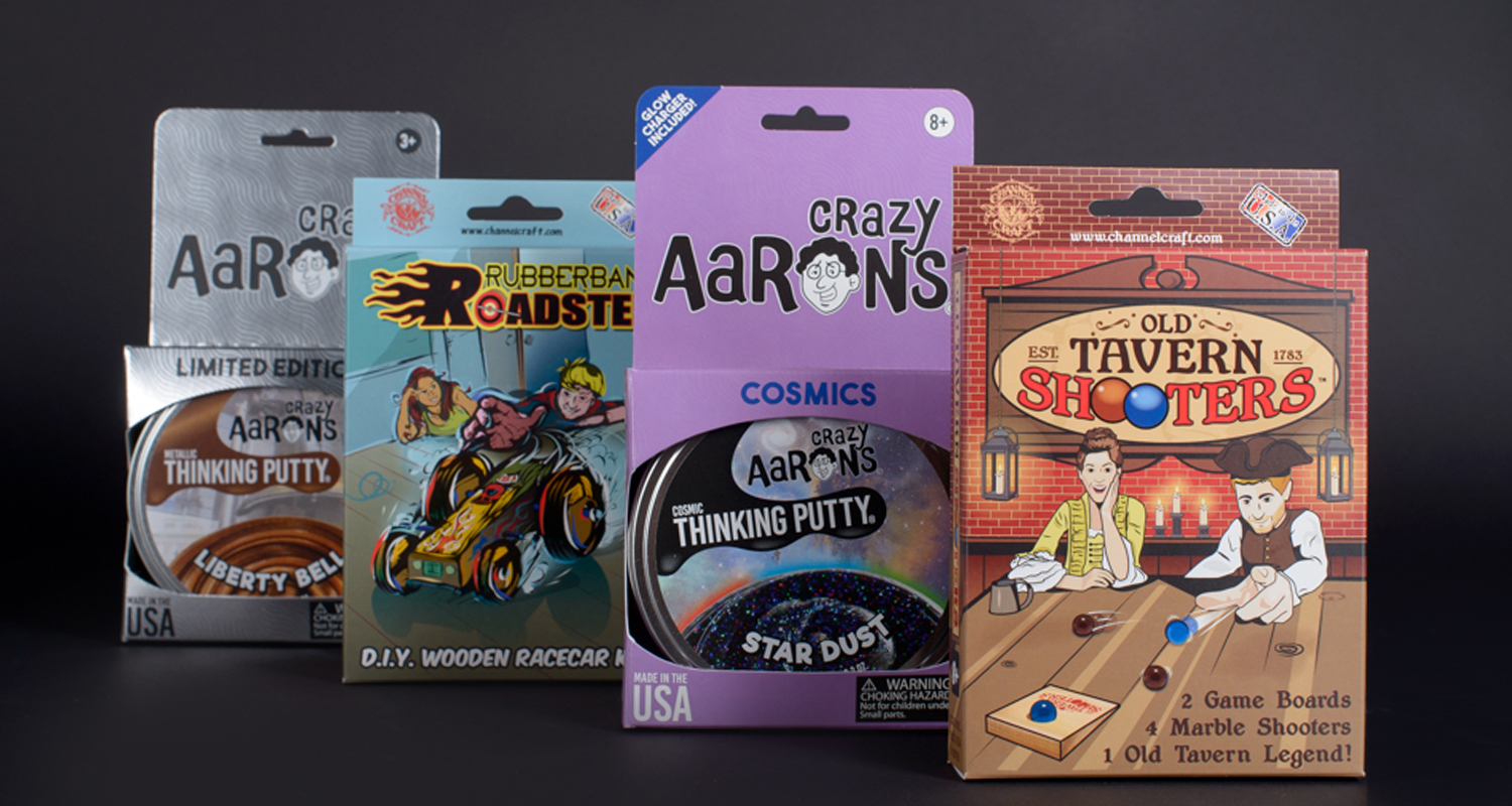 Consumer packaging shown for putty and games