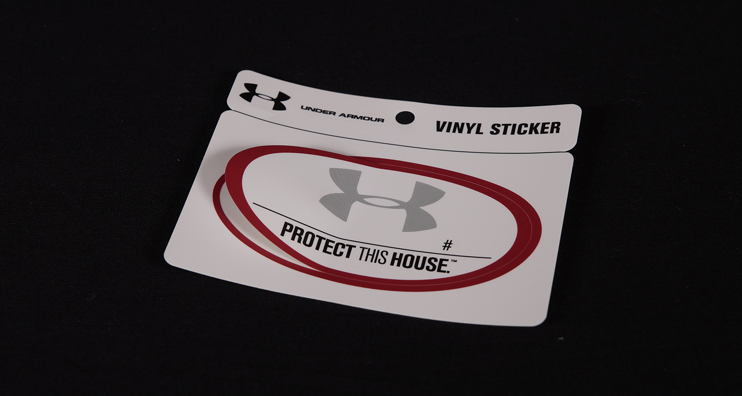 Pressure sensitive labels for under armour